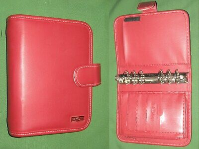 Compact 1.25 Red Faux Leather Franklin Covey Day One Planner Binder Organizer