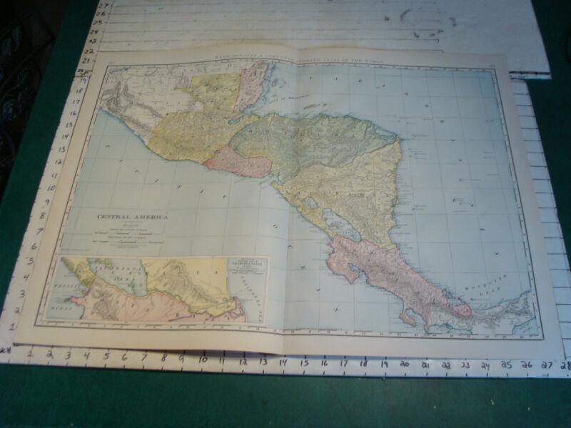 "Vintage Original 1898 Rand McNally Map:  CENTRAL AMERICA, 28 x 21"""