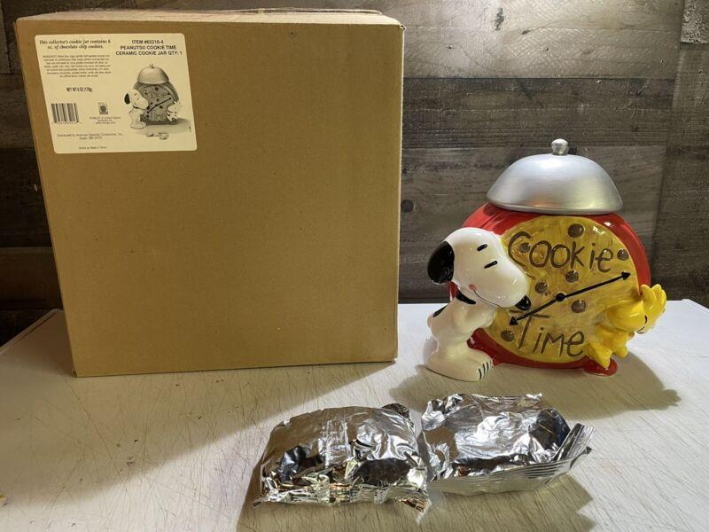 Snoopy & Woodstock Ceramic Cookie Time Jar Peanuts Charlie Brown RARE NEW IN BOX