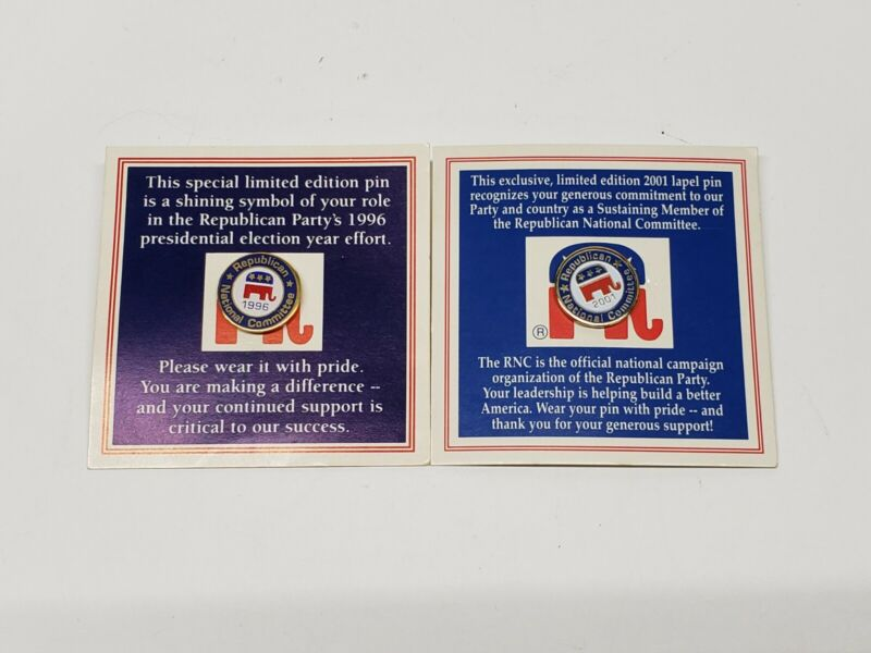 Vintage RNC Republican National Committee Lapel Pins 1996 2001 New on Card
