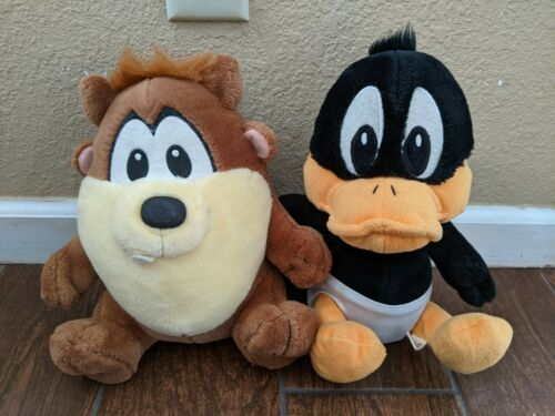 Looney Tunes Baby Taz Tasmanian Devil + Daffy Duck Plush Doll 1996 Warner Bros
