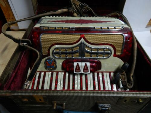 Vintage Carbanori Accordion Red and Ivory 1950