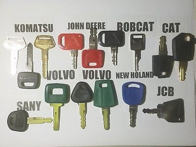 15 Construction Equipment Keys Cat Bobcat Volvo John Deere Komatsu Jcb Nh