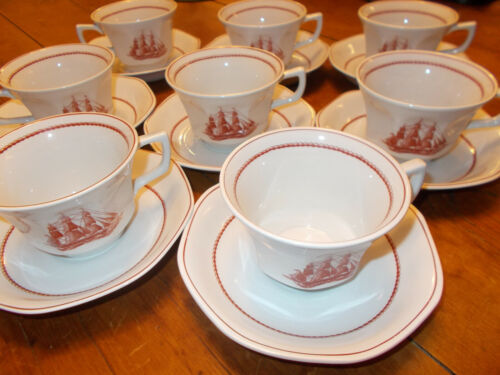 SET 8 Wedgwood Flying Cloud Rust Cups and Saucers Georgetown Collection