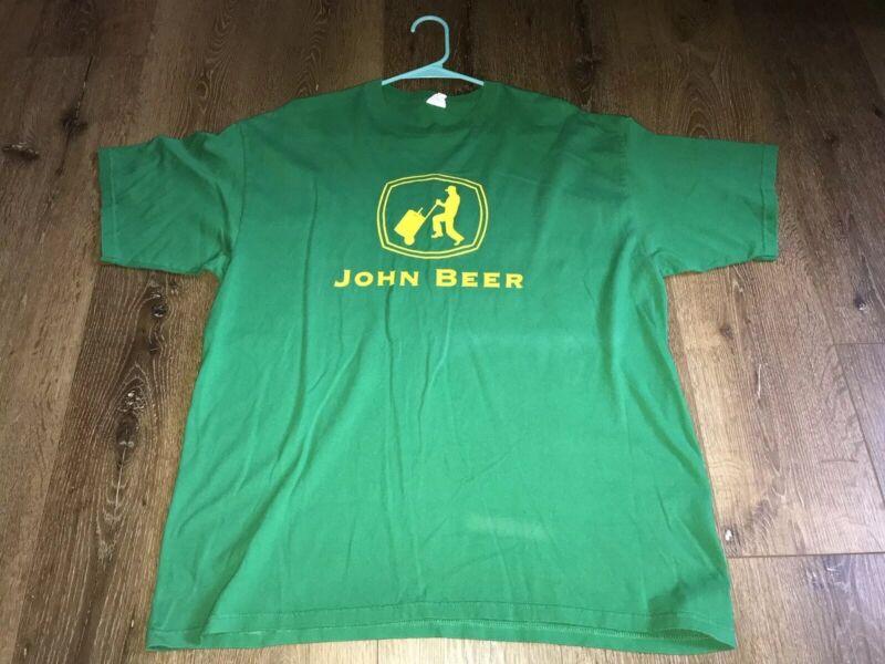 John Beer Deere Tractor Drinking T-Shirt Short Sleeve XL FUNNY