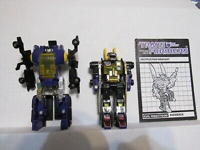 G1 lot Kickback with booklet and Bombshell Insecticons Takara Transformers vtg