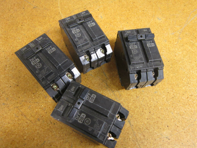 General Electric RT-690 Type THQL Circuit Breakers 20Amp 120/240VAC (Lot of 4)