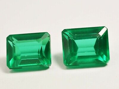 GIE Certified Natural Unheated Untreated 7 To 8 CT Pair Emerald Cut Gemstone