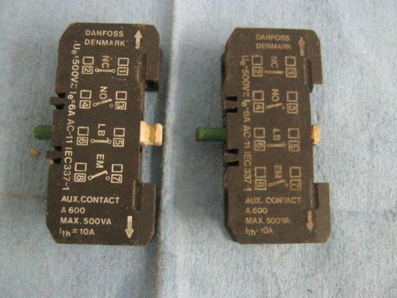 Lot of Danfoss Auxiliary Contactors.  A600, Max. 500VA. White Reset.   Qty. 2.<