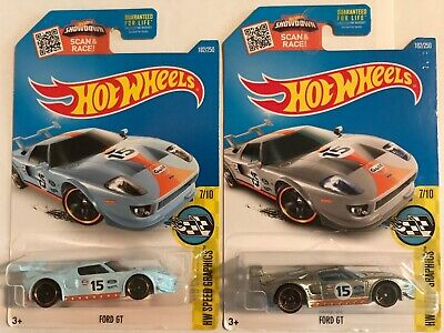Hot Wheels Ford GT Gulf ZAMAC/Mainline 2 Car Lot 2016 HW Speed Graphics Series