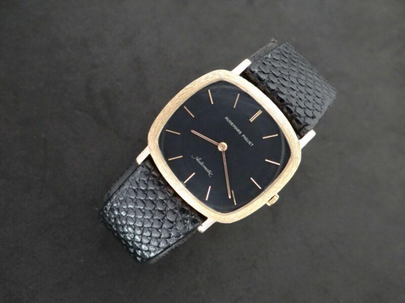 VINTAGE AUDEMARS PIGUET 18K GOLD AUTOMATIC CAL K2120 ULTRA THIN BLACK DIAL - watch picture 1