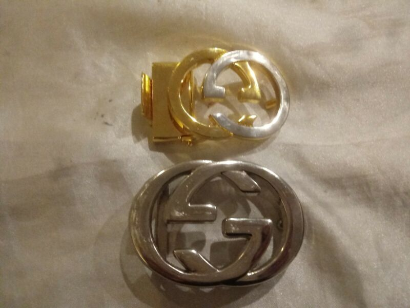GUCCI BELT BUCKLES ONLY LOT OF 2 GOLD/SILVER TONE SMALL