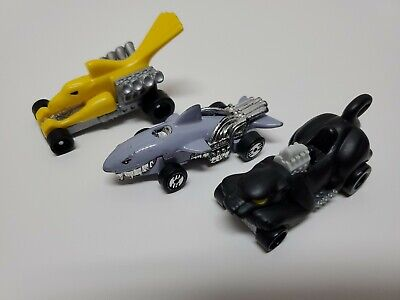 Vintage MATTEL HOT WHEELS Rat Rod Bird Car, Shark Car & Cat Toy Race Car
