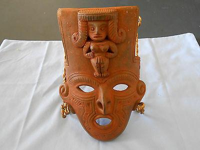 Vtg. Mexican Clay Mask Aztec Mayan Folk Art Pottery