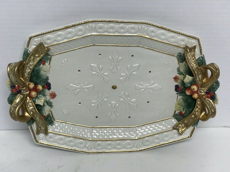 """Fitz & Floyd Snowy Woods 15"""" Platter Oval Serving Dish Perfect MINT!!!"""