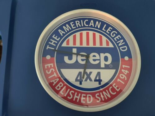 Jeep 4x4 American Legend Established Since 1941 Red White Blue Wall Clock