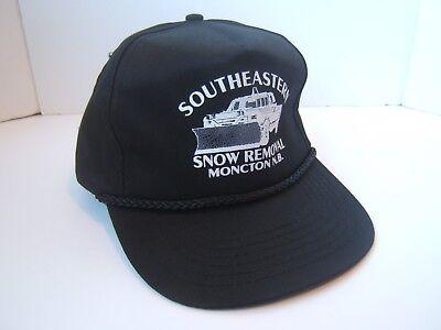 Southeastern Snow Removal Moncton Plow Truck Hat VTG Black Snapback Baseball Cap