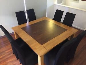 Dining Table Solid Timber & 8 Chairs