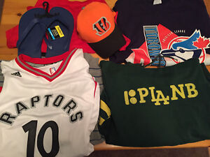 Name brand Clothes, sports clothes, hats, and more