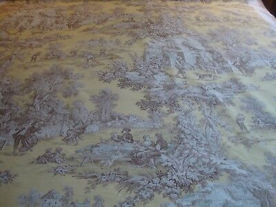 PORTFOLIO COUNTRY TOILE, YELLOW TAN, BY THE YARD, Yellow Toile Fabric