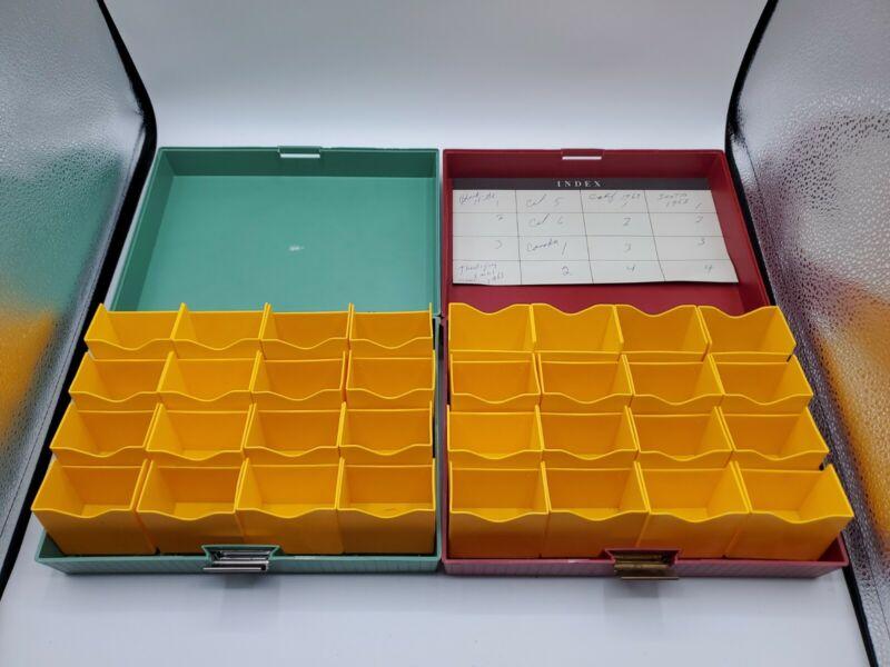2 Vintage Kodak 400 Slide File Box Green/Red  Complete Photography Excellent