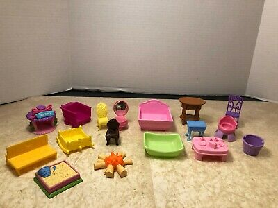 Lot of 18 small Fisher Price other brands Dollhouse furniture + Accessories