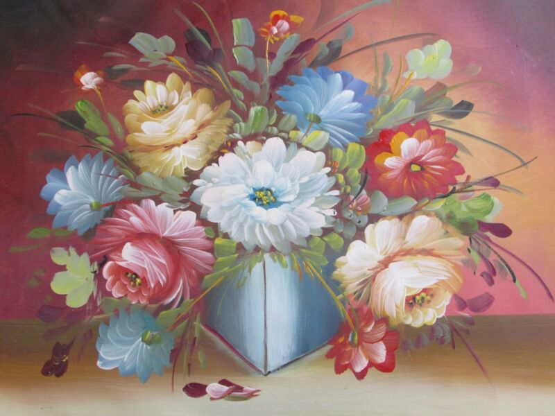 Classic+Still+Life+Flowers+Large+Oil+Painting+Canvas+Floral+Roses+Original+Art