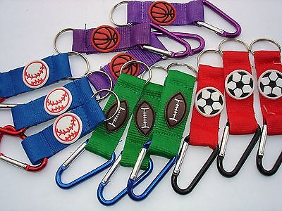 METALLIC CLIP SPORT BALLS KC LOT OF 12 CARNIVAL, FESTIVAL, PARTY TOY FAVORS Clip Sport Ball Keychains