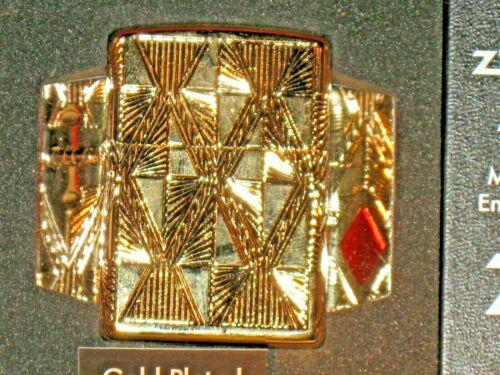 NEW USA Windproof ZIPPO Lighter 29671 Luxury Diamond Design 360 Gold Plate Armor