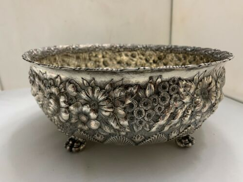 Antique Tiffany & Co Sterling Silver Floral Repousse Centerpiece Bowl Claw Feet