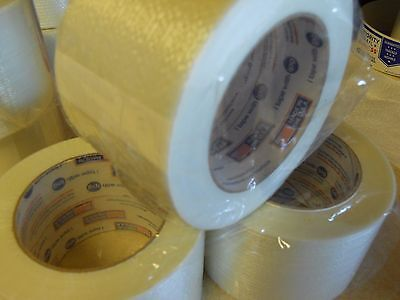 3 Rolls 3 X 60 Yds Fiberglass Reinforced Filament Strapping Packing Tape Clear