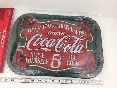 Coke Coca Cola Vintage Repro Tin Tray Sign w/ Wall Hanging Hooks NOS Sealed New