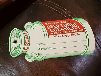 Deer Lodge, Montana MT Creamery Dairy Vintage Milk Cream Jug Tag
