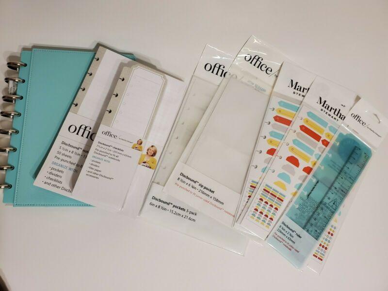 Martha Stewart Discbound Jr Notebook Bundle w/Filler paper, Checklist, Pockets