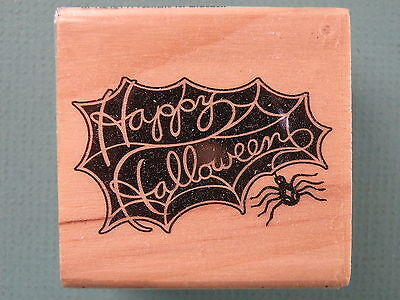 HAPPY HALLOWEEN Phrase in Spider Web CRAFTSMART Rubber - Halloween Phrase