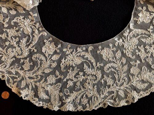 Large Italian handmade Burano needle lace berthe round collar COSTUME collector