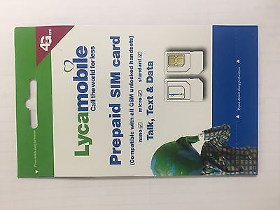 Lycamobile SIM Card Unlimited Talk,Text&Data 3 in1 Standard/Micro/Nano, T-Mobile
