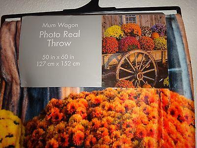 (MUM WAGON~FLOWERS~Multi Color~Photo Real Throw Silky Fleece Blanket 50