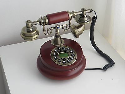 New Antique Desk Telephone Wooden Button Dial Retro Vintage Corded Home Decor
