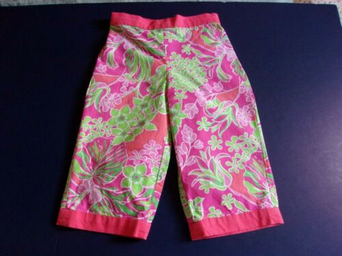LILLY PULITZER JUBILEE BABY CROPPED PANTS PINK GREEN ORANGE FLORAL 12 18 MONTHS