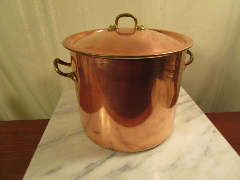 COPRAL Copper Stock Pot with Lid Brass Handles - Portugal - 6 Quarts