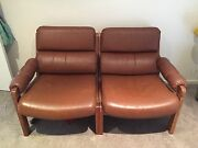 retro leather 2 seater sofa Grovedale Geelong City Preview