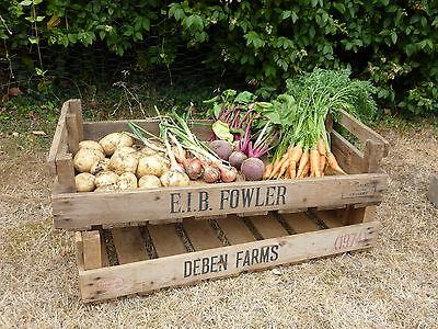 2 X VINTAGE  RUSTIC WOODEN FARM TRAY APPLE CRATE POTATO CHITTING BUSHEL BOX'