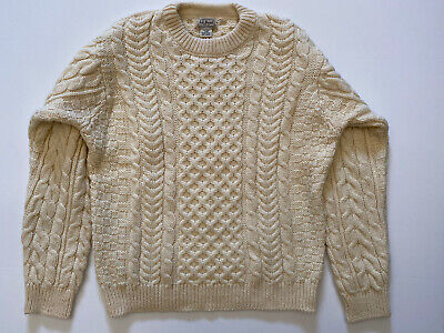 LL Bean - Mens LG Fishermans Heritage Knit Wool Sweater - Made In Ireland