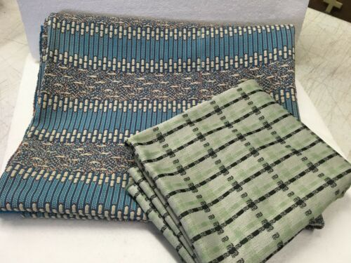 """Retro Polyester Fabric Lot 2 Large Pieces 62"""" W x 1 Yard Each Textured & Plaid"""