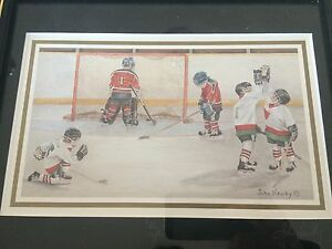 2 Framed Hockey Pictures /by: John Newby