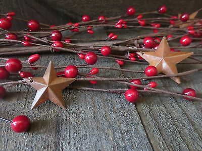 5 ft Country Red Primitive Rusty Stars Mixed Pip Berry Garland 60 inches Rustic