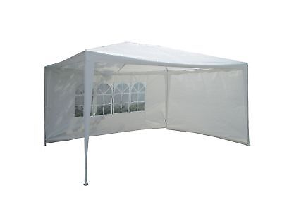 3x4M PE Garden Gazebo Marquee Canopy Awning Party Tent W/ Full Sidewalls White