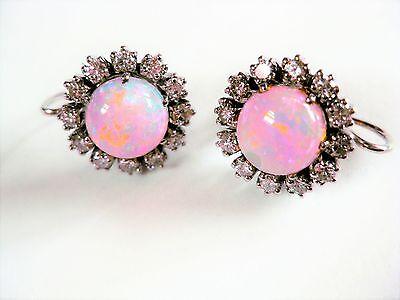 Ohrringe Weißgold 585 mit Opal und Brillianten