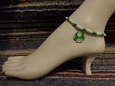 Green MUSHROOM mario  enamel charm ankle bracelet beads anklet stretchy beach